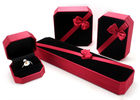 China Femal Red Plastic Jewelry Box PU Leather With Ribbon Environmentally Friendly factory