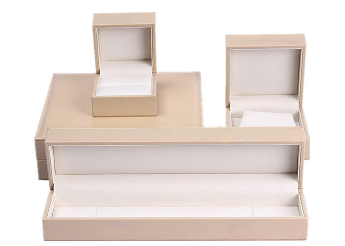 Fashion Beige Leather Flat Jewelry Box Rectangle Personalised
