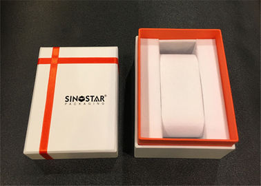White & Pink PPaper Watch Box Cardboard Covered Custom Logo For Gift Packaging