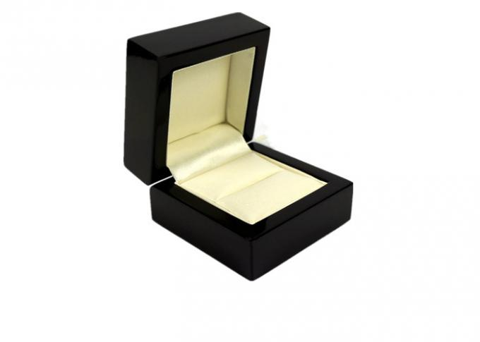 Screen Printing Leather Jewelry Box , Black Jewelry Boxes For Rings Only