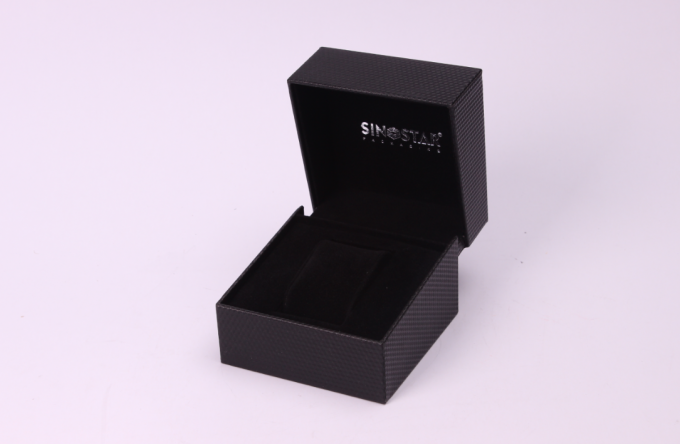 High End Style Single Watch Gift Boxes , Recyclable Black Watch Presentation Case